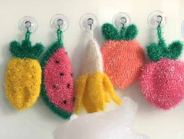 Rico Bubble Banana Strawberry Lemon Scrubby Crochet Pattern 595